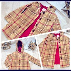 Girls 3T Tan & Pink Plaid Jacket Hood Coat